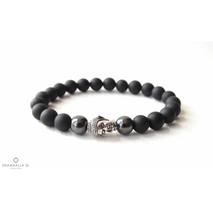 bracelet onyx mala tibetain avec bouddha
