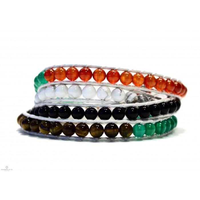 bracelet wrap a enrouler en cuir blanc