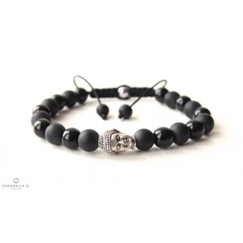bracelet shamballa noir et tete de bouda