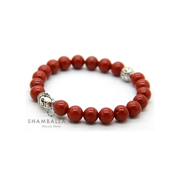 bracelet tibétain mala en jaspe rouge et bouddha
