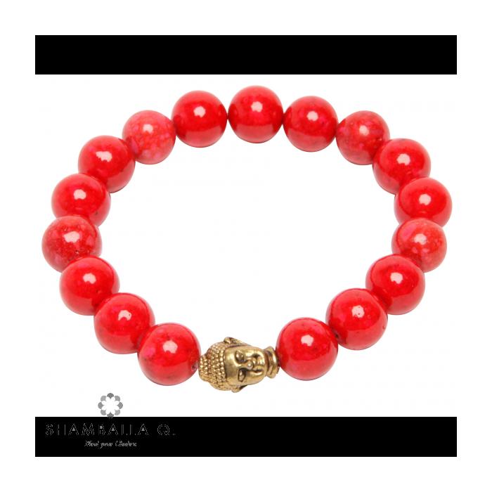 bracelet bouddhsite en corail rouge et bouddha or