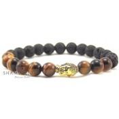 bracelet tibétain marron et noir avec tete bouddha