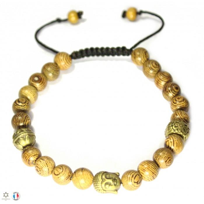 bracelet shamballa en bois et bouddha