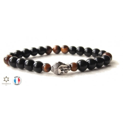 bracelet shamballa noir et bouddha