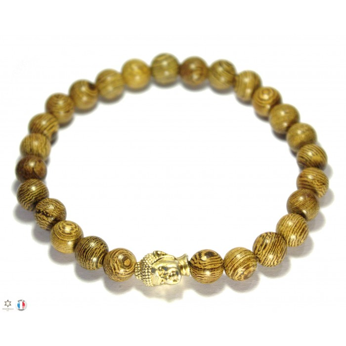 bracelet perles en bois et bouddha en or