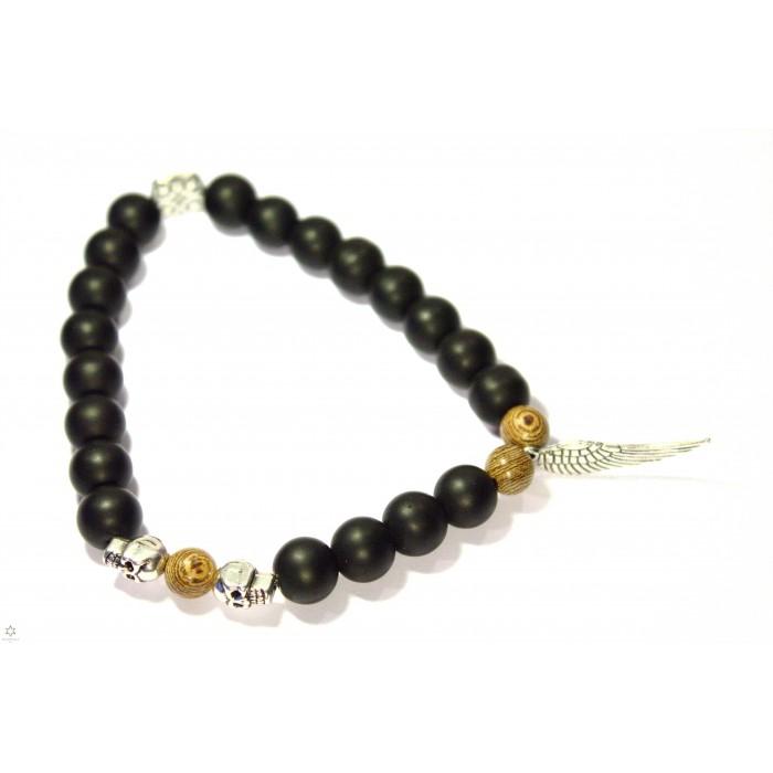 bracelet onyx aile d'ange