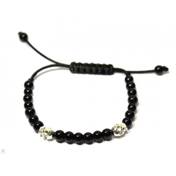 bracelet shamballa onyx noir et tete de mort
