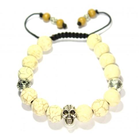 bracelet shamballa blanc avec tete de mort