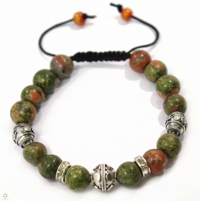 bracelet shamballa perle unakite