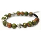bracelet shamballa argent et perles verte