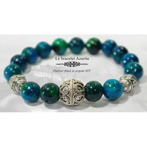 bracelet mala azurite luxe