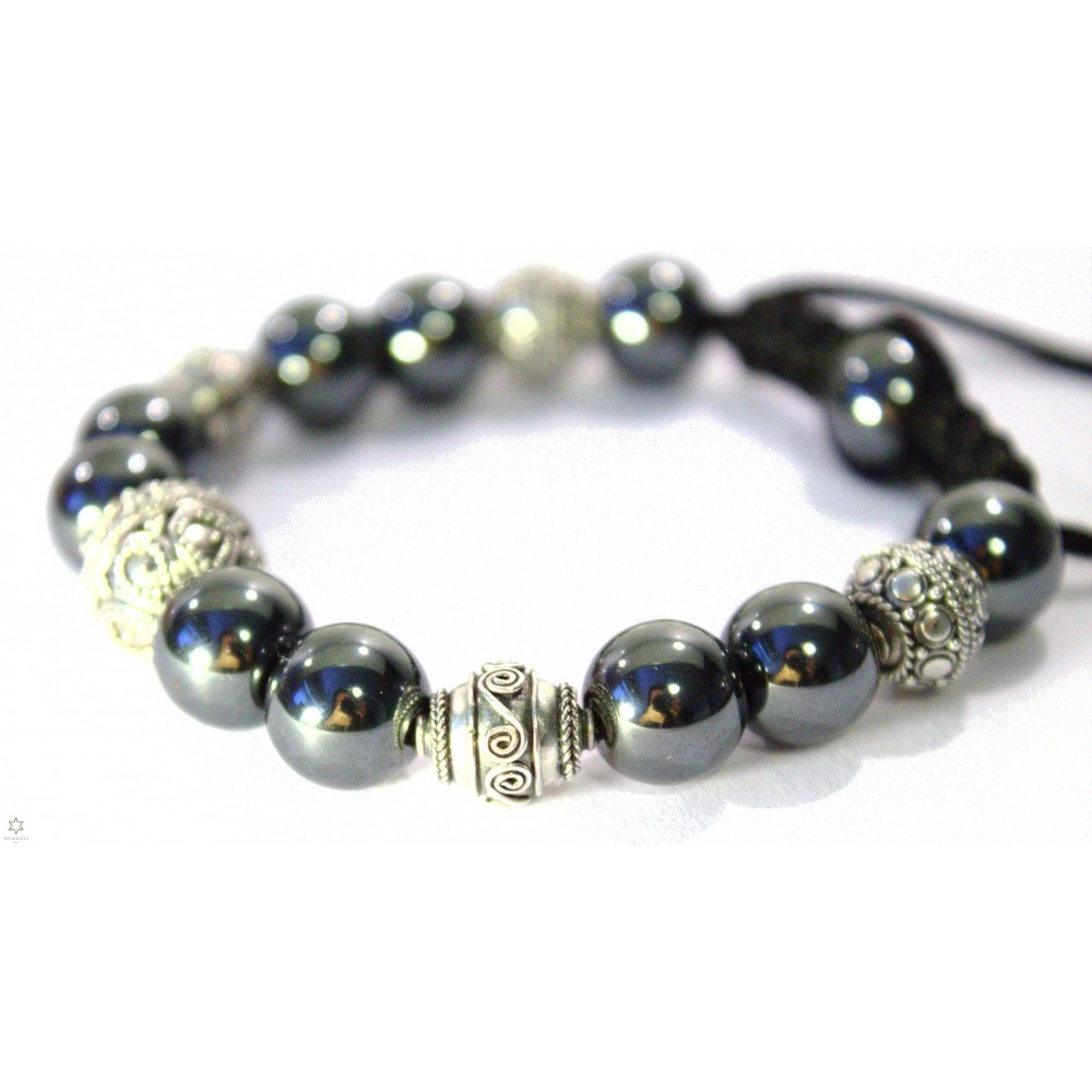 shamballa bracelet grosse perles en h matite et argent. Black Bedroom Furniture Sets. Home Design Ideas