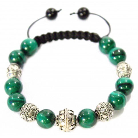 bracelet shamballa en perle de malachite