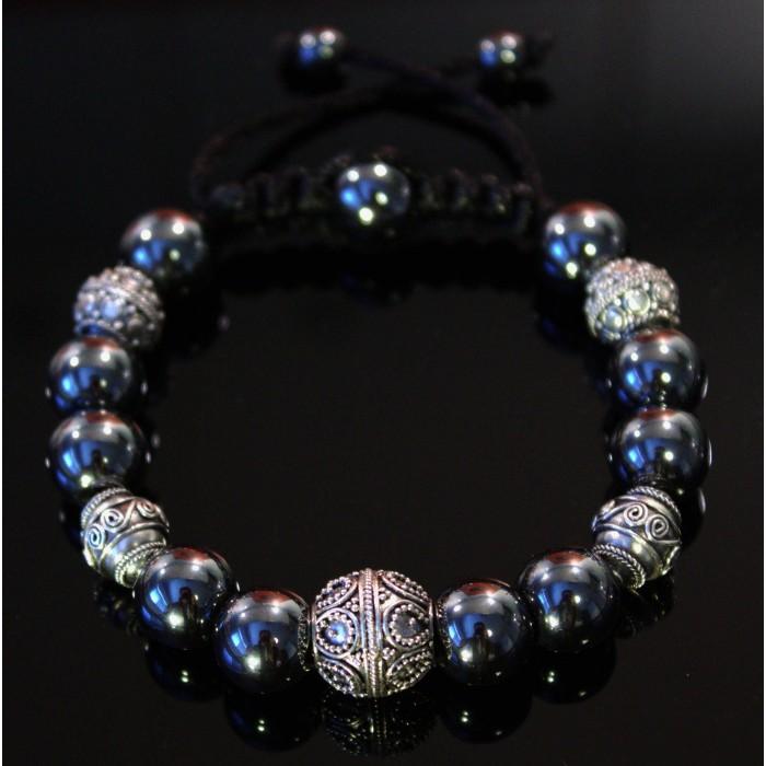 Fabuleux Le bracelet hématite luxe perles sur cordon homme et femme 410 SS42