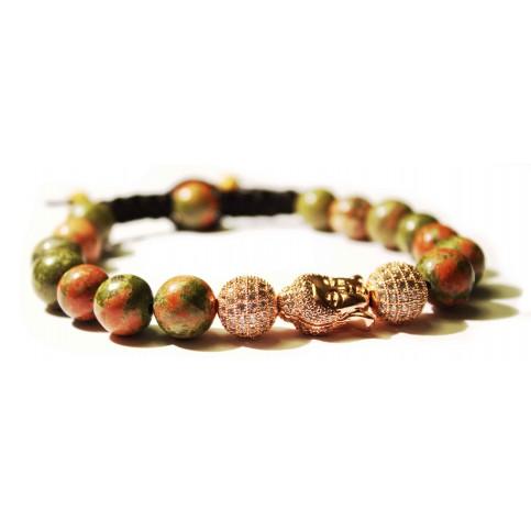 bracelet shamballa bouddha or rose