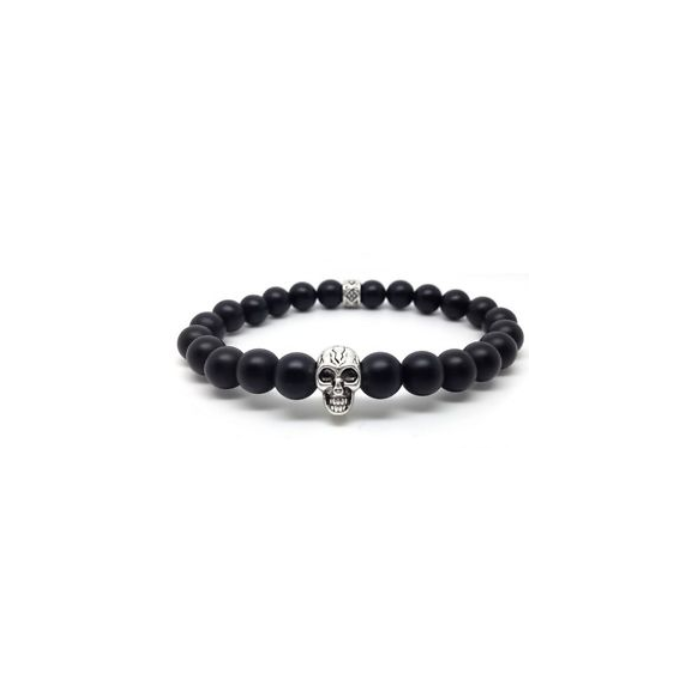bracelet noir et tete de mort