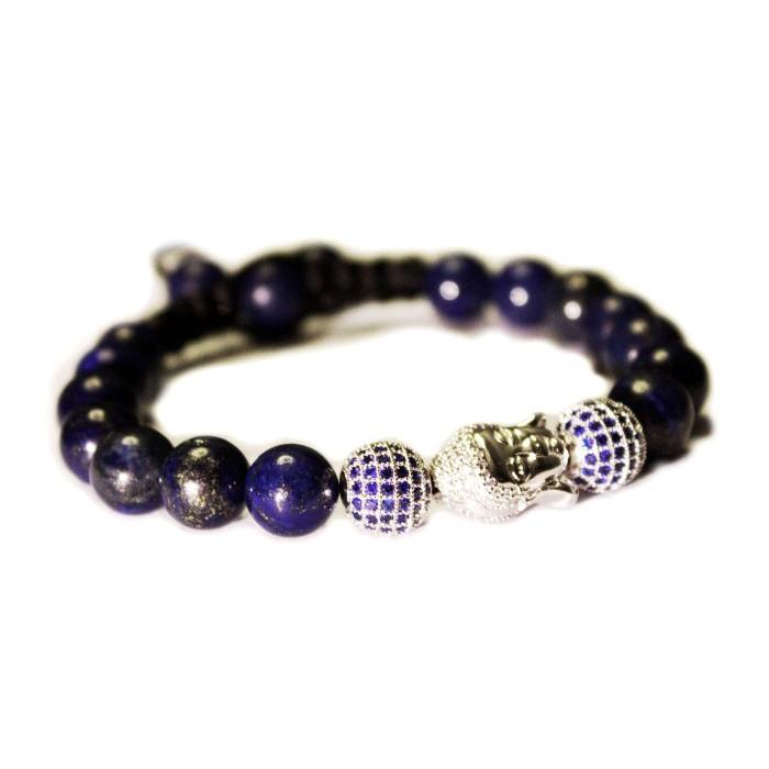 bracelet shamballa en argent et perle lapis lazuli