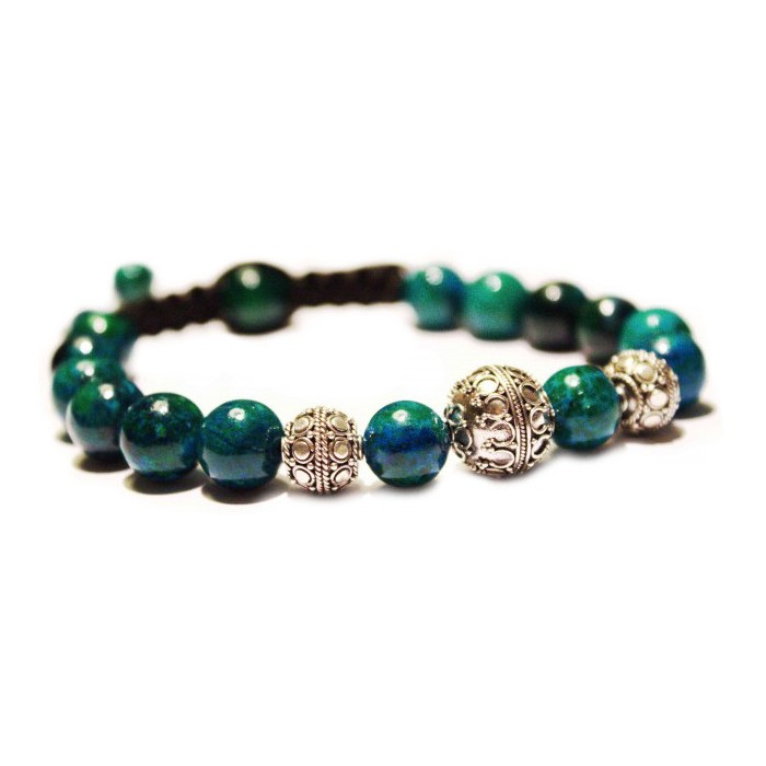 bracelet shamballa bleu vert et argent