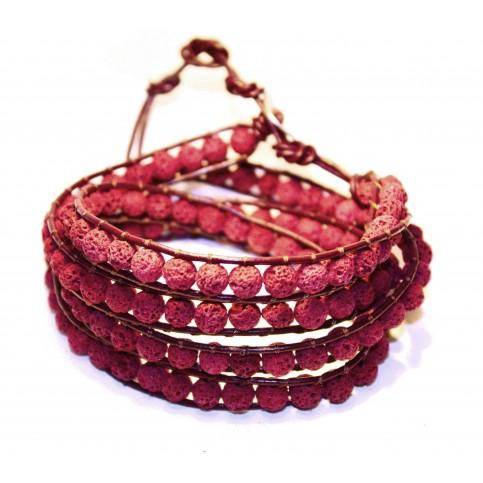 bracelet multi rang wrap rouge femme