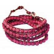 bracelet a enrouler wrap pierre de lave rouge