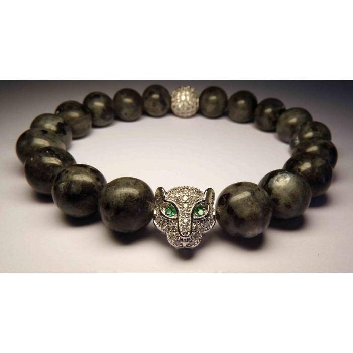 bracelet bouddhiste pierre larvikite gris et argent