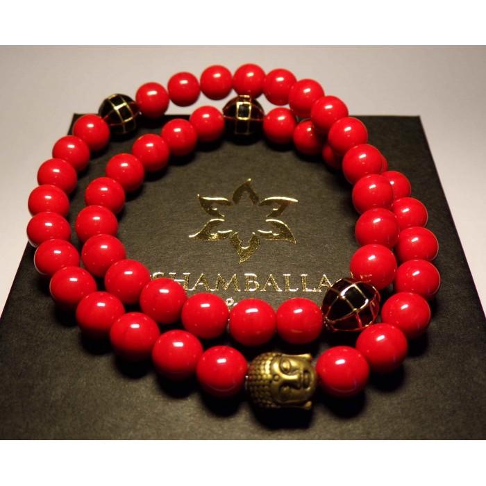 bracelet tibetain bouddhiste rouge avec bouddha