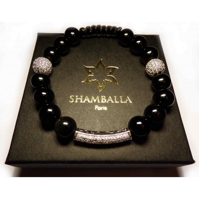 bracelet shamballa argent massif et perle noir
