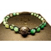 un shamballa bracelet perles agate vert et boule argent
