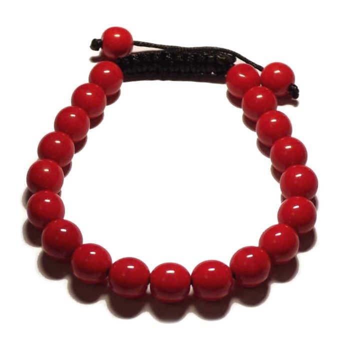 Le bracelet shamballa corail rouge SQ