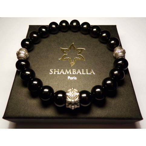 un bracelet tibetain noir onyx pour homme