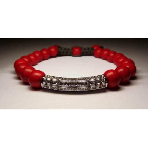 bracelet shamballa rouge et argent