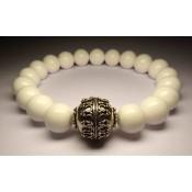 Bracelet mala tibetain en perles en jade blanche