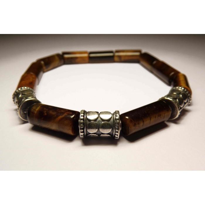 bracelet tibetain avec tubes oeil de tigre