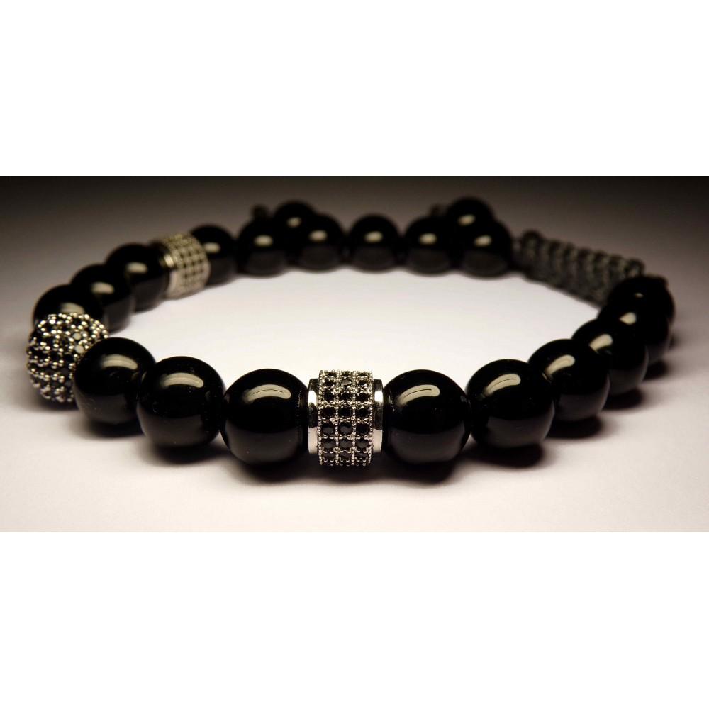 bracelet shamballa tete de mort argent et perles noir. Black Bedroom Furniture Sets. Home Design Ideas