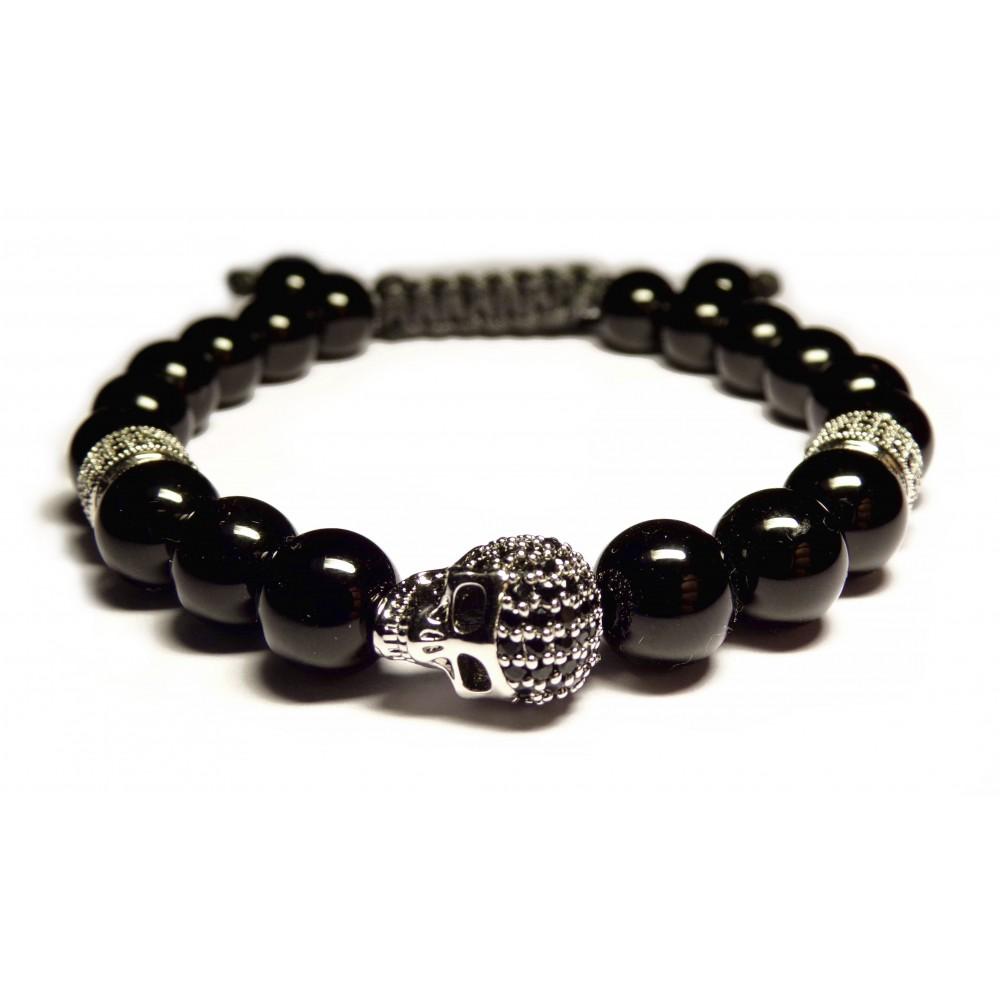bracelet shamballa tete de mort argent et perles noir agate pour homme. Black Bedroom Furniture Sets. Home Design Ideas