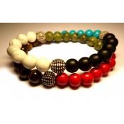 bracelet multirang tibétain perles mélange de couleur