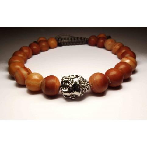 bracelet avec tete de bouddha en argent