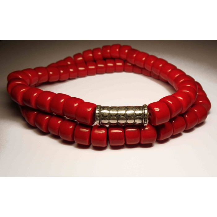 bracelet perles rouge multirang
