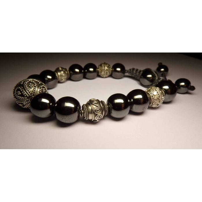 bracelet shamballa perles en hematite pour homme