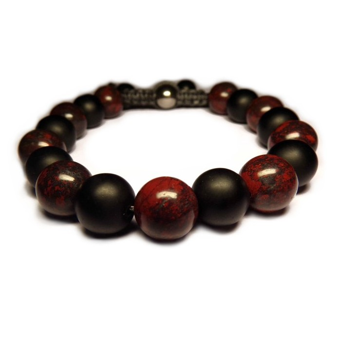shamballa bracelet avec perle Jaspe Poppy et onyx noir