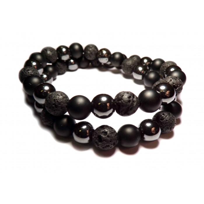 bracelet tibetain double rang avec perles sombre