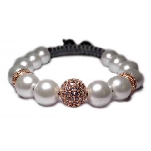 Bracelet shamballa femme perles nacré