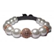 Bracelet shamballa femme perles nacré et or
