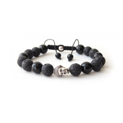 shamballa bracelet perles noir onyx et bouddha