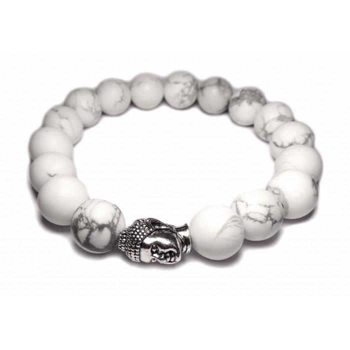 une bracelet mala tibétain perles howlite blanc et bouddha