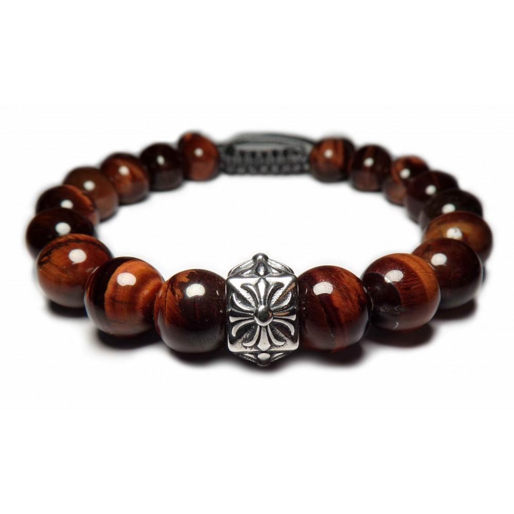 Argent. bracelet shamballa perles oeil de tauraux
