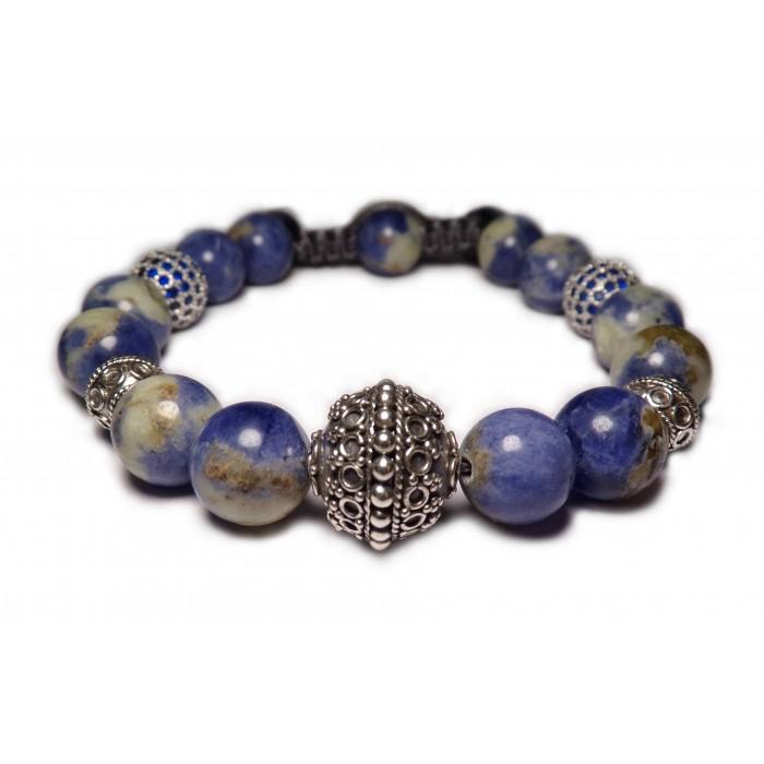 Le bracelet shamballa perles Sodalite bleu