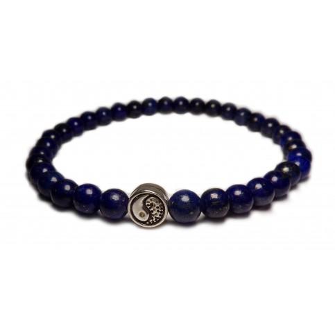 Le bracelet mala Yin Yang et perle bleu en lapis lazuli