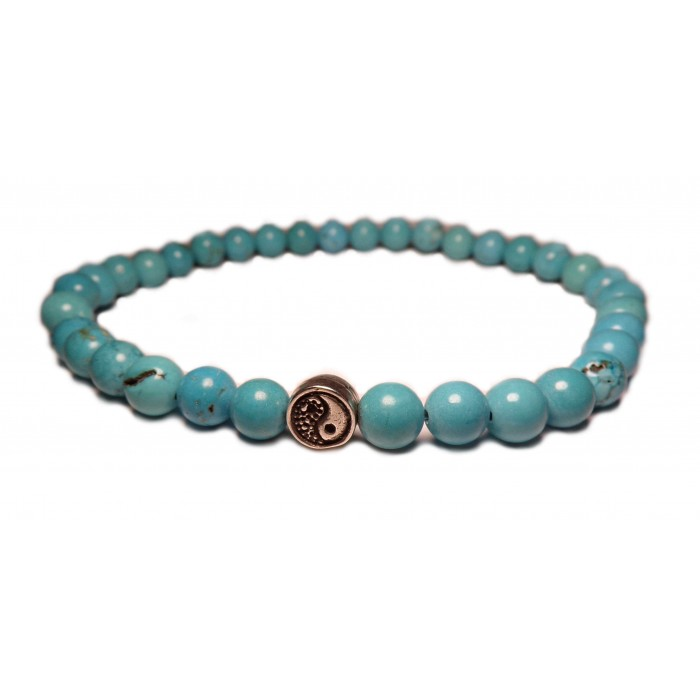 bracelet elastique yin yang perles en turquoise