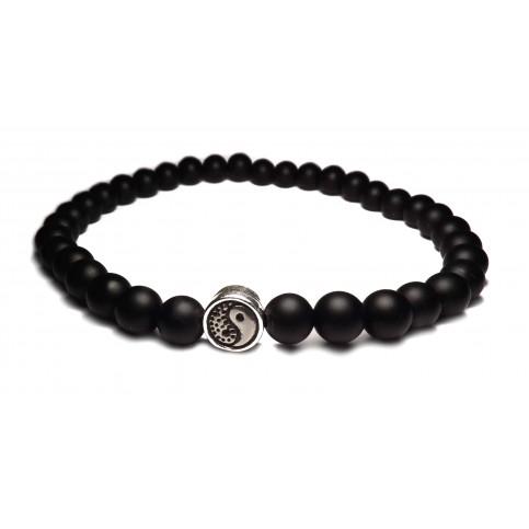 Le bracelet yin yang perles noir
